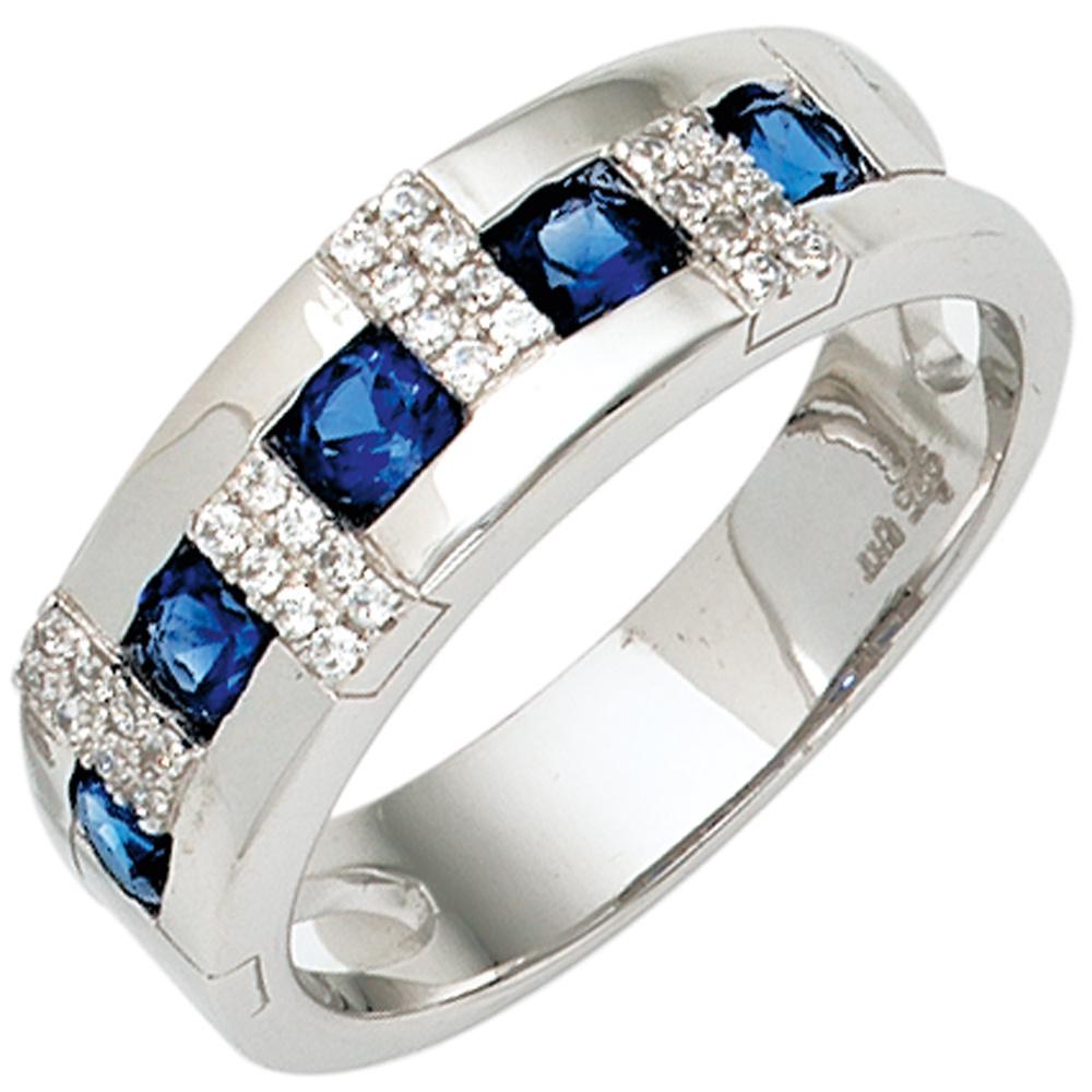 damen ring 925 sterling silber rhodiniert mit zirkonia blau wei silberring ebay. Black Bedroom Furniture Sets. Home Design Ideas
