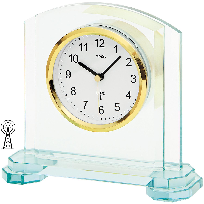 ams 5147 tischuhr funk funktischuhr analog modern mit glas. Black Bedroom Furniture Sets. Home Design Ideas