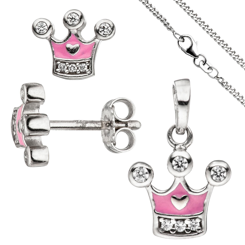 Schmuck Anhänger Prinzessin Krone mit Zirkonia 925er Silber Kettenanhänger Damen